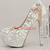 ankle strap platforms - Sparkling White Crystal Pearls Wedding Shoes With Tassels Round Toe cm cm cm High heel Platform Bridal Gown Party Pumps For Women