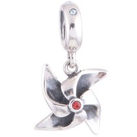 Wholesale Sterling Charm Swarovski Crystal Silver Beads Pinwheel Dangle Charm fit European Bracelets No YZ624