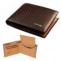Wholesale New Fashion Men s Coffee Genuine Leather Plaid Wallet Vintage Denim Wallet Casual Style M096 M1