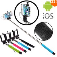 Wholesale Z07 Plus in Audio cable Wired Selfie Stick Handheld Extendable Monopod take photos for IOS Android smart phone