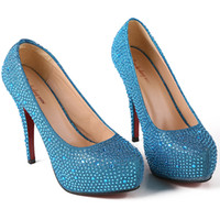 Cheap New Arrival Blue Color 12cm High Heels Bride Bridesmaid Crystal Wedding Shoes Party Dinner Prom Shoes Size : (35 36 37 38 39) J681