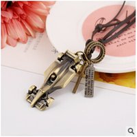 american vintage cars - 500pcs LJJC2540 New Arrival Vintage Necklace Alloy Leaves Key Racing Car Egyptian Masks Pendent Casual Hiphop Style Leather Sweater Necklace