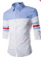 Cheap 2015 new 3 4 Sleeve Casual Shirt Slim Fit Shirts Tops Western casual cotton shirt buttons oblique shirts 100% mens t-shirt printer