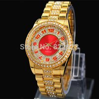 gold - 2014 New Women Watch Auto Date Stainless steel gold rose gold red dial Quartz watches Woman Wristwatch full of diamond