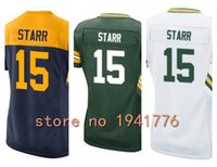 bart gold - Factory Outlet New Bart Starr retired womens Elite Football Jersey stitched Starr size S XXL green navy gold white ladies jerseys