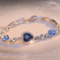 Wholesale 5 Color Plated Crystal Bracelet Jewelry Jewelry Female Snap Jewelry Bracelets for Women Blue Heart Shaped Bracelet Jewelry