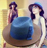 Wholesale Fedora Derby hat Women Unisex Trilby Cap Summer Beach Sun Straw Panama Top Hat
