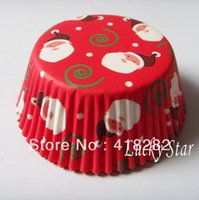 Wholesale Merry Christmas Red Snowman Christmas cupcake liner baking cup holder paper muffin cases Cake Cup Mold