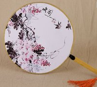 bamboo process - Classic round fan Imperial palace Chinese fans Female retro process Bamboo handle round silk fan dance fabric fans
