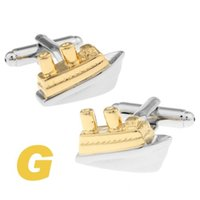 Wholesale High Quality New Classic Silver Copper Mens Wedding Cufflinks Novelty Rare Fancy Silver Golden Ship Clean Cloth
