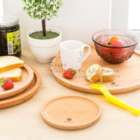 Wholesale New arrival IKEA Zakka Round solid beech wood bread plate Wood without paint fruit plate snack cake plate Home decoration