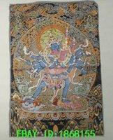 Wholesale 35 quot Collectible Old Decorated Tibetan Silk Inwrought Thangka Painting Kalachakra