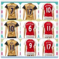 Nuevo producto Arsenal Tailandia Mujeres Özil Wilshere Alexis Koscielny Walcott 2015-2016 oro rojo amarillo Camisa ausente Jersey de fútbol completo