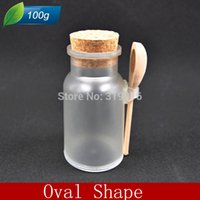 plastic bottles and containers - g oval shap plastic bath salt container powder empty plastic bottle with spoon and cork pc