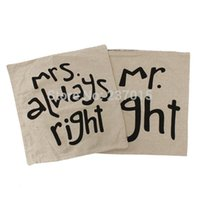 Wholesale Mr Mrs Right Pillow Case Cushion Wedding Gift Covers Home