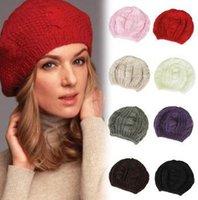 Wholesale 2014 new fashion women twist beret lady knitted hat girl handmade crochet wool beanies winter ear warmer beret