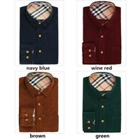 100% cotton men dress shirts - HOT Sale Autumn Winter Casual Shirt A Cotton Corduroy Slim Fit Men Shirt Fashion Mens Dress Shirts Plus Size M XXXL