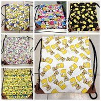 Wholesale 100PCS LJJH579 New Fashion Despicable Me minions bag tsum KT Backpack canvas drawstring bags Cute cartoon bags Travel bag