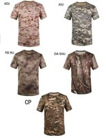 Wholesale Summer Outdoors Hunting Camouflage T shirt Men Breathable Army Tactical Combat T Shirt Military Dry Sport Camo Outdoor Camping