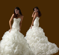 Wholesale 2015 New Custom Plus Size Sexy Sweetheart Organza Mermaid Wedding Dresses Strapless Beaded Lace Appliques Ruffles Chapel Train Bridal Gowns