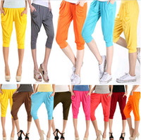 Wholesale 2015 candy color woman Harem Pants Trousers Bottoms minutes pants high waist Gym elastic yoga pencil Fitness leggings TOPB2709