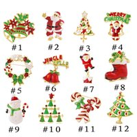 Wholesale Hot Brooches Pins Christmas Tree Decoration Christmas Enamel Jewelry Brooch for Women Men Party Holiday Gift Supplies China