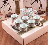 Wholesale Ceramic kung fu tea gift set teapot teacup wearing cover seven sets of wedding housewarming gift ideas for business