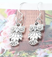 Wholesale MIC New x36mm Owl With Cute Feather Charm Earrings Silver Fish Ear Hook E991 Dangle Chandelier Jewelry