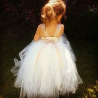 Wholesale 2015 Cute Ball Gown Flower Girls Dresses Square Sleeveless Floor Length Ruffle Ribbon Lace Tulle Cheap Pageant Girls Dress White Ivory WW70