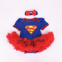 Wholesale Children Supergirl short sleeve tutu rompers dress bow headbands new cartoon Batgirl girl Super hero baby rompers dress C001