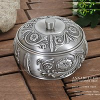 antique ash trays - unique vintage rare round antique tin metal smoking cigar cigarette ashtray ash tray with cover lid C