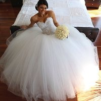 Wholesale Gorgeous Sexy Lace Wedding Dresses New Designers Christams Collectiom Bigger Ball Gowns Sweetheart Tulle Informal Custom Court Train