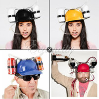Wholesale High Quality Fashion home Color Cool Unique Party holiday Game Beer Soda Dual Can Holder Straw Drinking Hard Hat Helmet Cap Fun