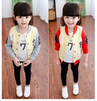 baby girl uniform - The new children s wear small baby girls coat jacket patch cartoon baseball uniform jacket in the spring and autumn BH1163