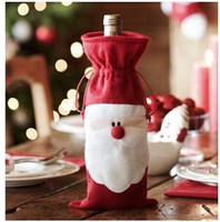 Wholesale 2014 Christmas cm Santa Claus Red Wine Bottle Cover Bags Christmas Table Dinner Decoration Home Party Decors S0850