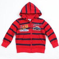 Cheap Kids Wear Clothing Baby Boys Winter Sweatshirts Boy Jacket Sports Cool Coat Stripes cars Printing Fleece Hooded Hoodies Red Nova Brand A3205