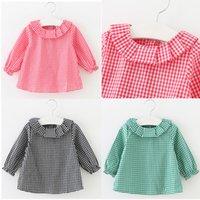 Wholesale Fashion Baby Tops Girls Long Sleeve Shirt Cotton Kids Girls Grid Shirts With Lotus leaf collar Drop Shipping