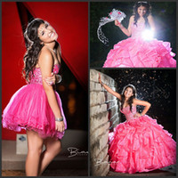 Wholesale Two Pieces Dark Pink Quinceanera Dresses With Detachable Train Crystal Bead Sequins Ball Gown Prom Dress Short Homecoming Gowns Exquisite