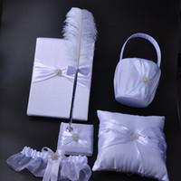 feather pen - 5Pcs set Satin Pearl Diamond Wedding Guest Book Feather Pen Set Ring Pillow Flower Basket Garter Decor Product Supplies