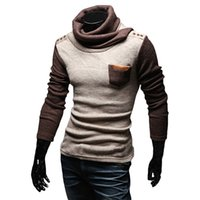 Wholesale S5Q Mens Winter Knitwear Casual Fitted Pullover Cardigan Splice Slim High neck Sweater Top AAAEJI