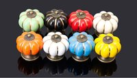 Wholesale pumpkin cabinet handle knobs ceramic kirchen drawer pulls furniture door handle