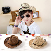baby panama hat - Hot Sale kids boys Cowboy Braided Straw Topee Hat Vintage Handmade Baby Boys Cool Sunhat large brim kid beach hat Woven Panama Hats