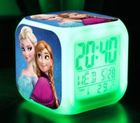 Wholesale Frozen Digital desk table Alarm Clock LED Color changing D cartoon Elsa Anna and olaf snowman printed alarms Thermometer Night Light