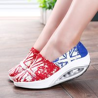 beauty wedge fashion - Fashion Women Canvas Rocking Wedge Sneakers Walking Sports Shoes Height Increasing cm Health Beauty Swing Chaussure Femme