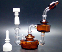 jar glass - Bear Moutain Studios Honey Jar Recycler Oil rigs Glass water pipes with inline perc mm joint