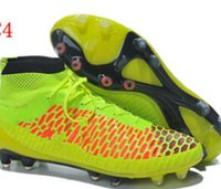 spike ball - Top Brand Ankle Net Soccer Boots Football Shoes Men Hi Cut Athletic Boot Magista Obra FG Ball Cleats Mix Orders Dropship Cheap Original Box