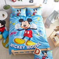 mickey mouse bedding - Kids Bedding Set Cotton Mickey Mouse Cartoon Queen Size Children Bedding Bed In A Bag Duvet Cover Bed Sheet Pillow Case