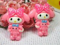 Wholesale Min order is mix order cabochons for DIY phone case decoration Resin Pink rabbit