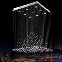 Cheap 2015 modern luxury crystal Pyramid chandelier square LED k9 crystal GU10 Crystal Luminaire for living room DY1093A