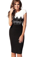 ladies office clothes - Party Pencil Dress Work Lace Panelled Dress New Fashion OL Women Ladies Office Clothes Bodycon Slim